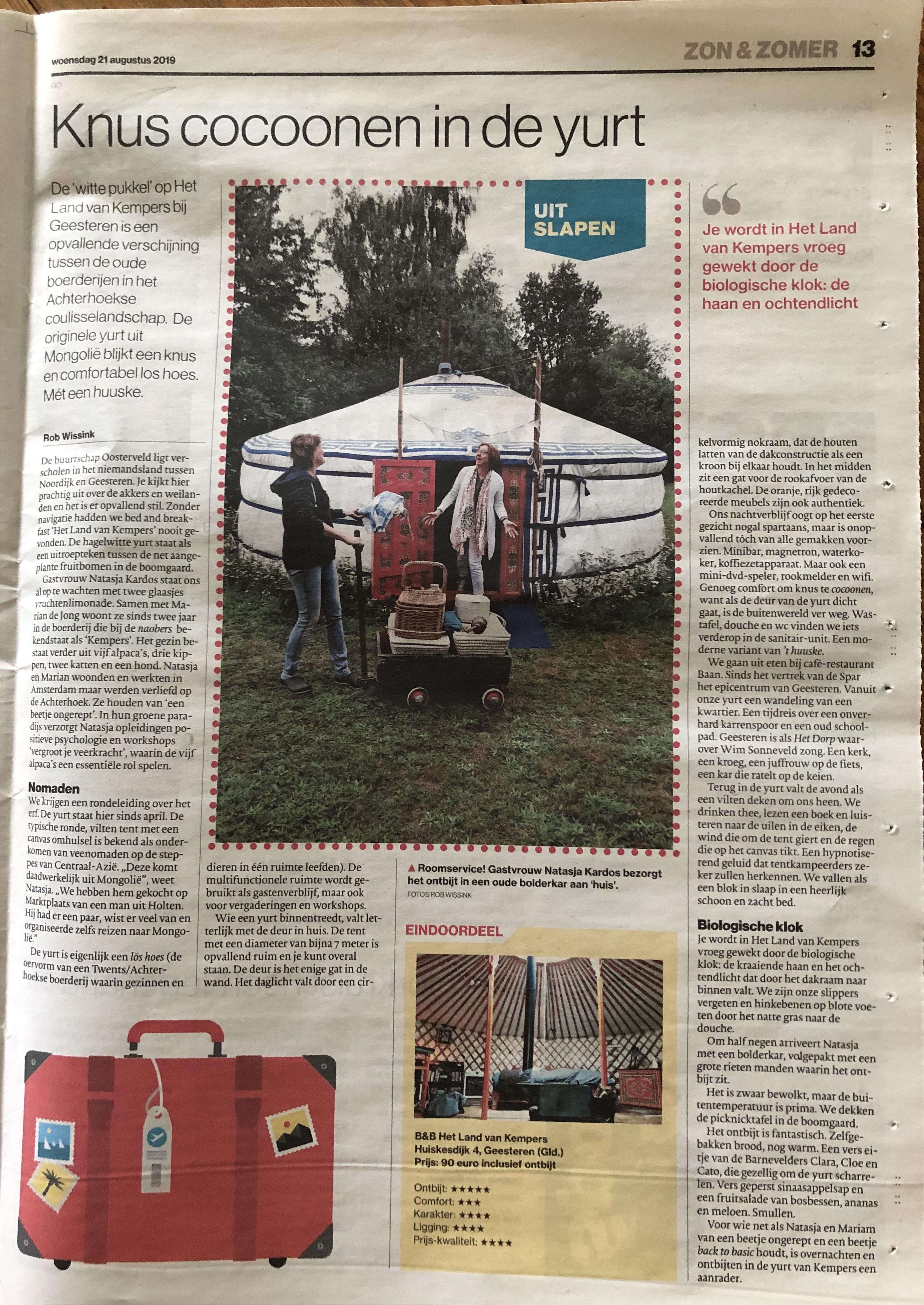 tubantia-stentor-gelderlander-overnachten in een yurt