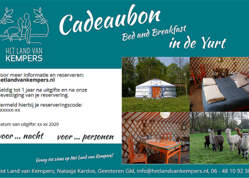 Cadeaubon yurt: bed and breakfast in de Achterhoek, Gelderland