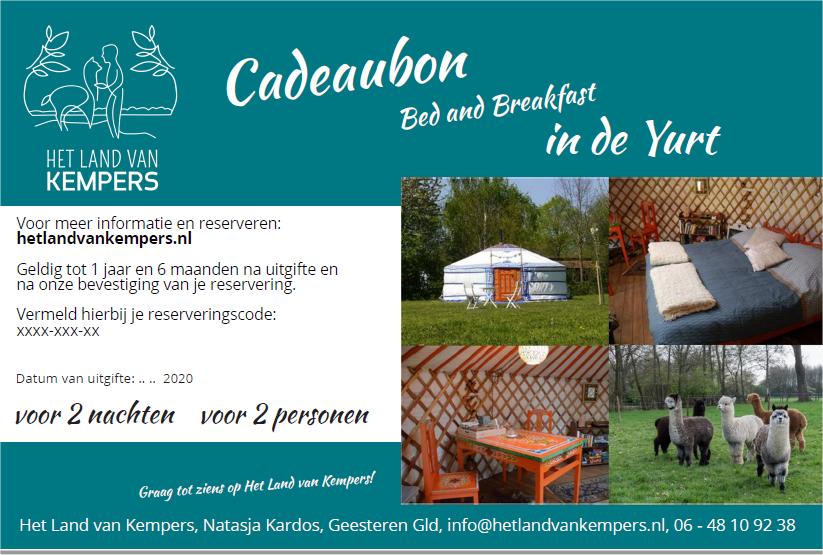 Cadeaubon Yurt, vanaf 2 overnachting, Bed and Breakfast in de Achterhoek, Gelderland