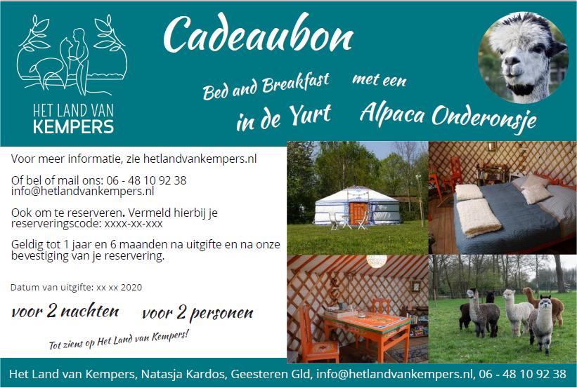 Cadeaubon voor yurt overnachtingen - bed and breakfast - met alpaca meet and greet, Achterhoek, Gelderland