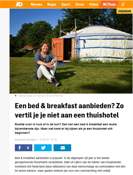Bed and breakfast, yurt, Achterhoek, Gelderland