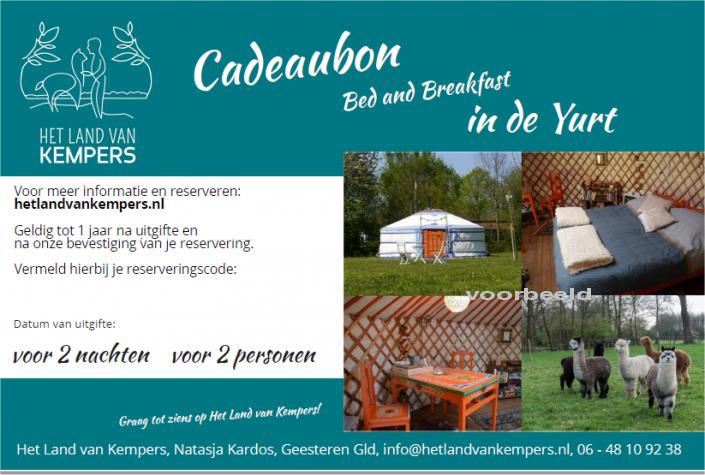 bed and breakfast, yurt, netherlands, geschenkkart, gift card