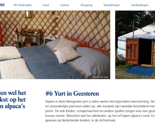 NS Favourites Top10 Bijzondere overnachtingen yurt
