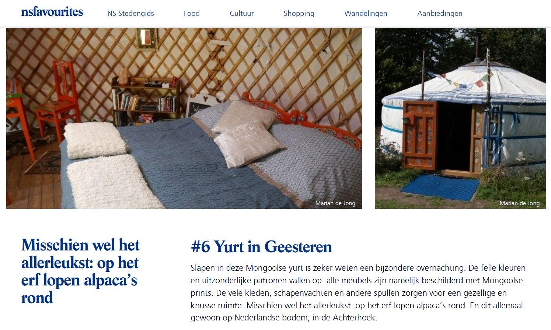 NS favourites Bijzondere overnachtingen yurt